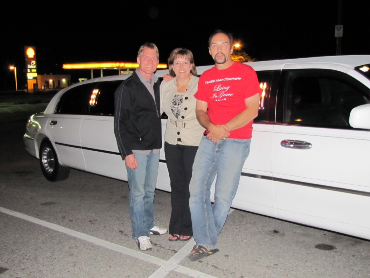 Brent, Dianne and Dale by limo