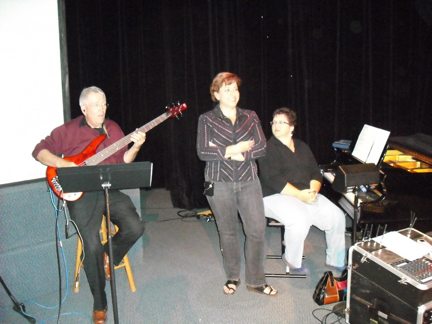 Peter on bass, Dianne, Arlene on piano at Spruce Grove Alliance
