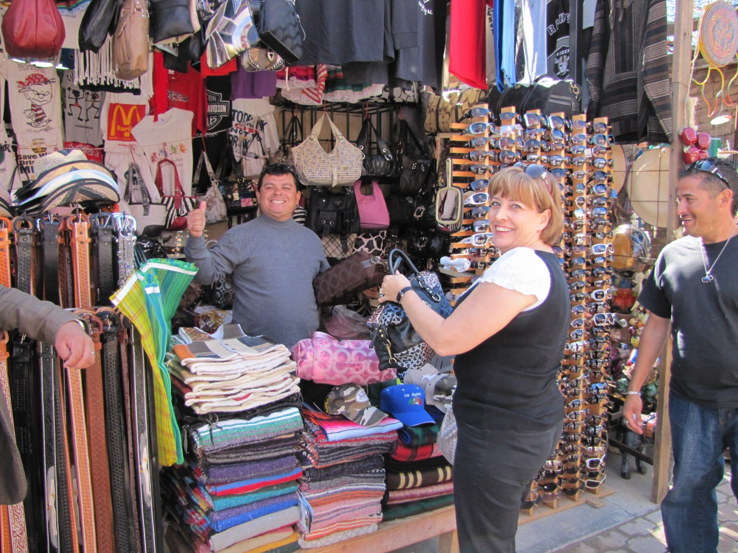 """Dianne bargaining in Mexico over a """"Coach"""" purse"""