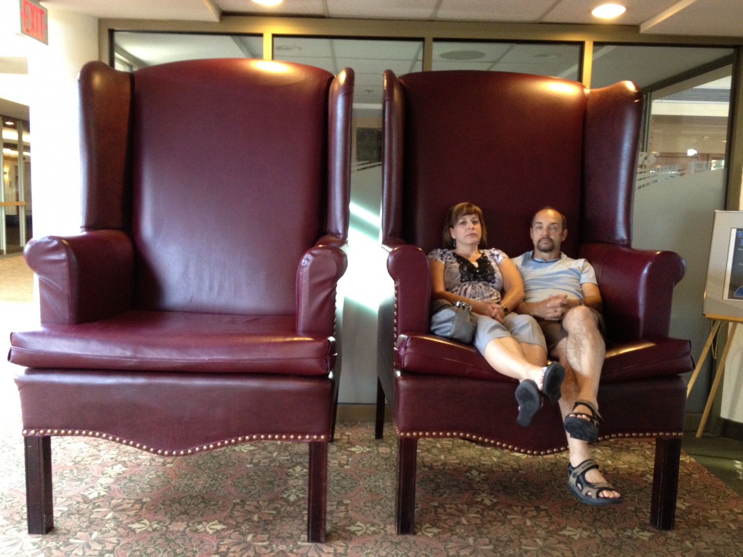Very large chairs in Medicine Hat hotel
