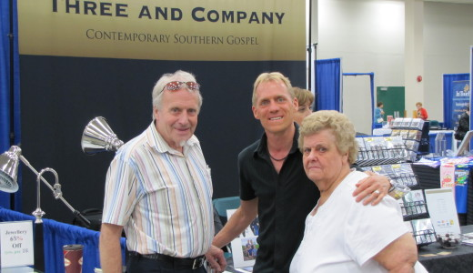 Harold and Deanna Anderson stop by the product table to make sure their son Brent is behaving.