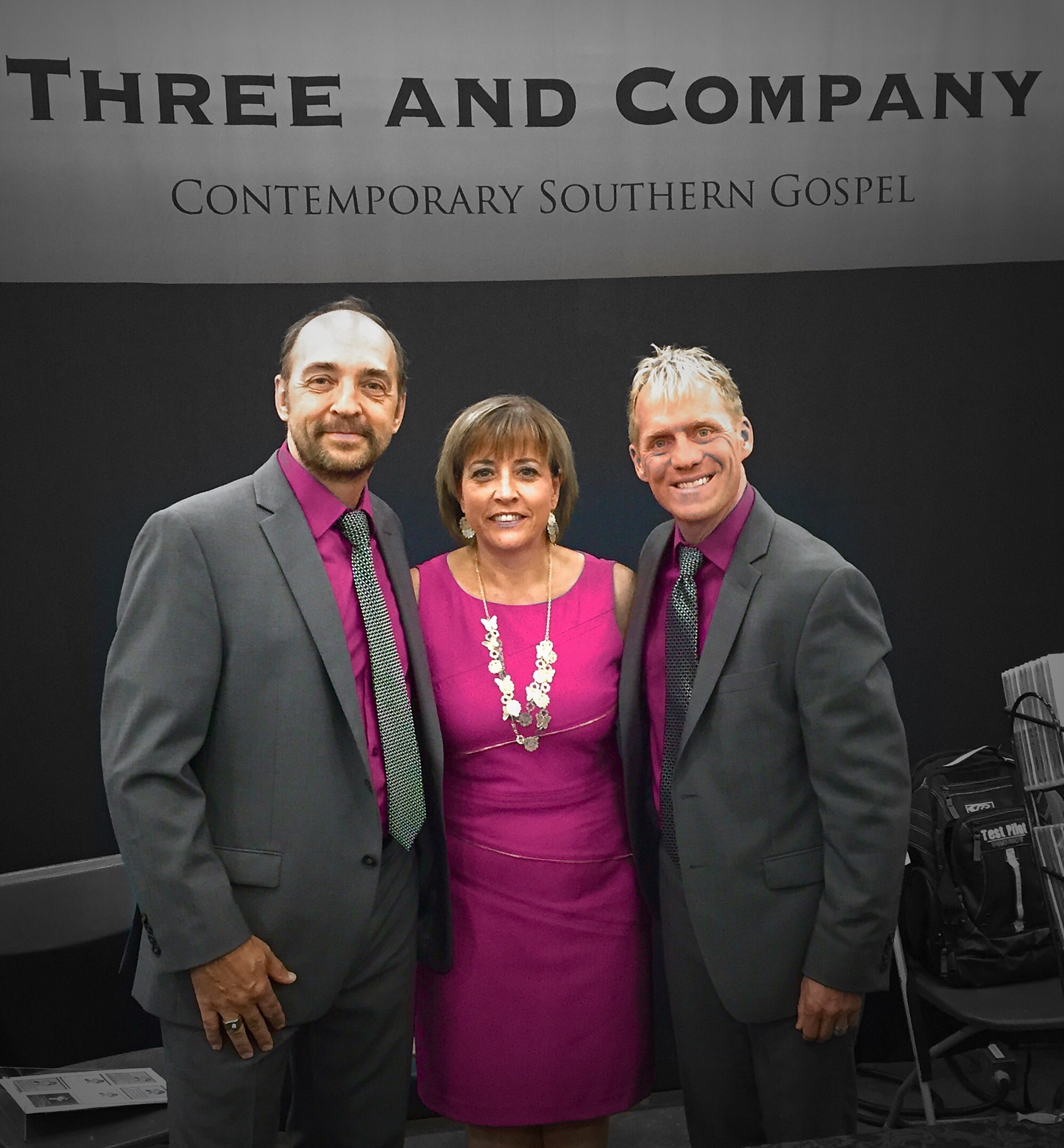 """Photo by Duane Roset, he called us """"One Shade Of Grey"""". Dianne co-ordinated our colors and we had lots of comments on the colors!  Great event in Red Deer again this year.  Thanks to all who stopped by the booth."""